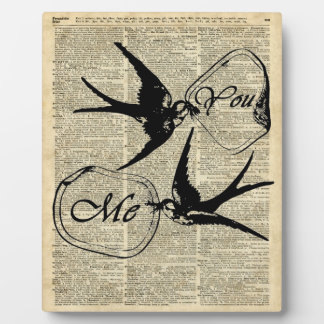 Swallows In Love Over Old Dictionary Book Page Plaque