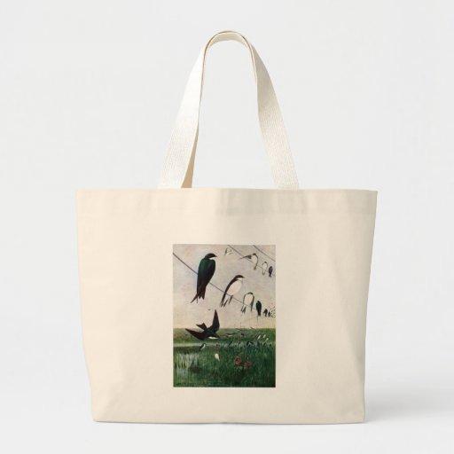 Swallows on a Power Line Jumbo Tote Bag