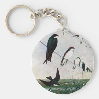 Swallows on a Power Line Key Chains