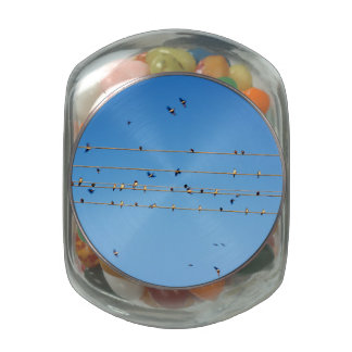 Swallows on wire glass candy jar