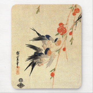 Swallows, Peach Blossoms Mousemat Mouse Pad