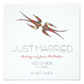 Swallows Spring Flowers Just Married Wedding Custom Announcements