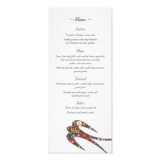 Swallows Spring Flowers Wedding Menu Card
