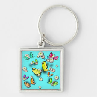 Swallowtail Butterflies and Daisies Keychain