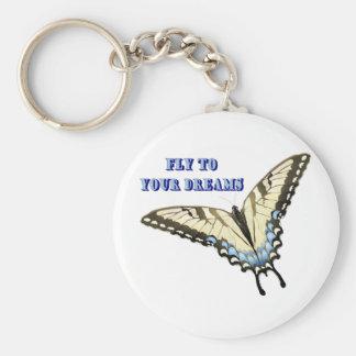 Swallowtail Butterfly Basic Round Button Keychain