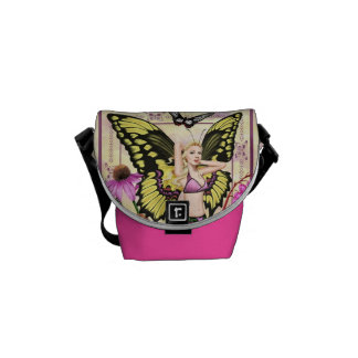 Swallowtail Butterfly Fairy - Pink and Yellow Bag