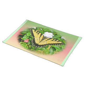 Swallowtail Butterfly - Flowers Cloth Placemat