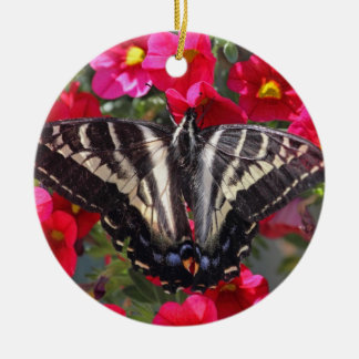 Swallowtail Butterfly on Flowers Ceramic Ornament