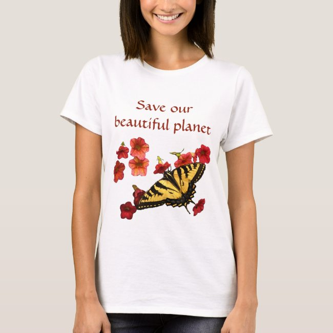 Swallowtail Butterfly on Flowers Save Our Planet