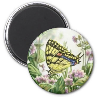 Swallowtail Butterfly on Forget-Me-Nots Painting 2 Inch Round Magnet