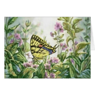 Swallowtail Butterfly on Forget-Me-Nots Painting Card