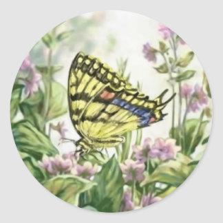 Swallowtail Butterfly on Forget-Me-Nots Painting Classic Round Sticker