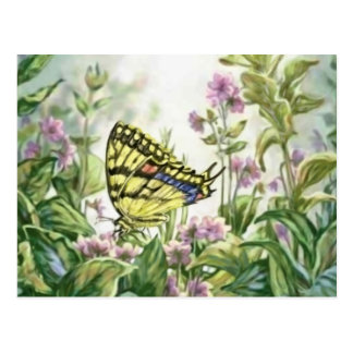 Swallowtail Butterfly on Forget-Me-Nots Painting Postcard