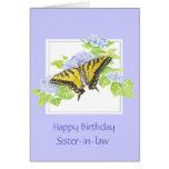 Swallowtail Butterfly on Hydrangea Flower art Card