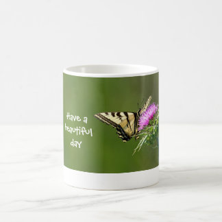 Swallowtail Butterfly on Purple Thistle Classic White Coffee Mug