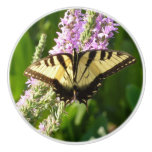 Swallowtail Butterfly on Purple Wildflowers Ceramic Knob