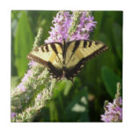 Swallowtail Butterfly on Purple Wildflowers Ceramic Tile