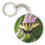 Swallowtail Butterfly on Purple Wildflowers Keychain