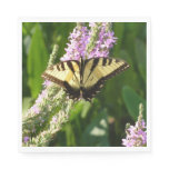 Swallowtail Butterfly on Purple Wildflowers Paper Napkin