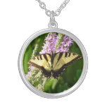 Swallowtail Butterfly on Purple Wildflowers Silver Plated Necklace
