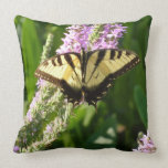 Swallowtail Butterfly on Purple Wildflowers Throw Pillow