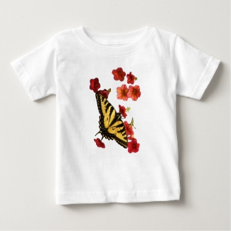 Swallowtail Butterfly on Red Flowers Baby T-shirt
