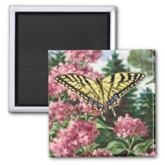 Swallowtail Butterfly Pink Flowers Garden Painting 2 Inch Square Magnet