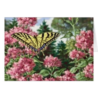 Swallowtail Butterfly Pink Flowers Garden Painting Card