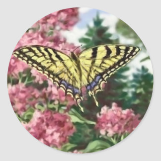 Swallowtail Butterfly Pink Flowers Garden Painting Classic Round Sticker