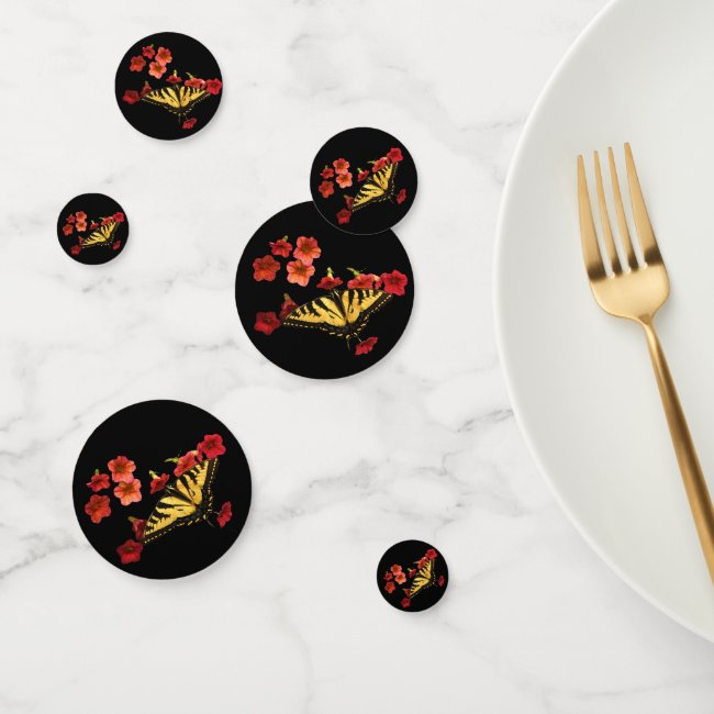 Swallowtail Butterfly Red Flowers Table Confetti