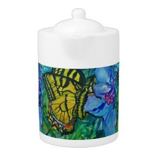 Swallowtail Butterfly Watercolor Teapot