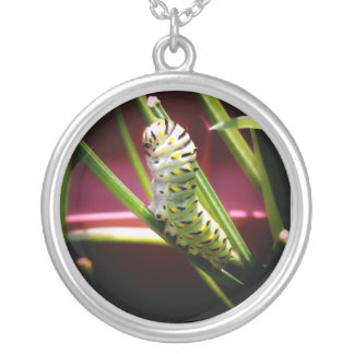 Swallowtail Caterpillar Round Pendant Necklace
