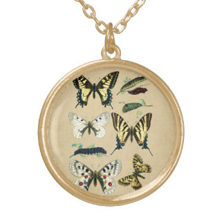 Swallowtail Caterpillars, Butterflies and Moths Gold Plated Necklace