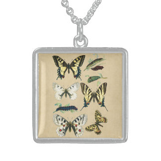 Swallowtail Caterpillars, Butterflies and Moths Sterling Silver Necklace