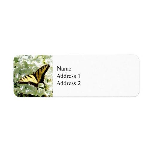 Swallowtail en el Hydrangea blanco Etiquetas De Remite