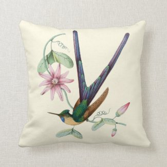 Swallowtail Hummingbird Floral Indoor Pillow 16x16