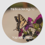 Swallowtail in the Petunias Classic Round Sticker