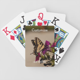 Swallowtail in the Petunias; Customizable Bicycle Playing Cards