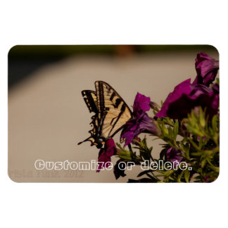 Swallowtail in the Petunias; Customizable Magnet