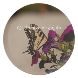 Swallowtail in the Petunias; Customizable Melamine Plate