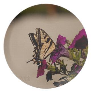 Swallowtail in the Petunias Melamine Plate