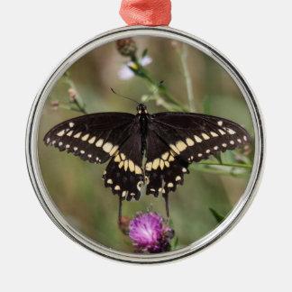 Swallowtail negro adorno navideño redondo de metal