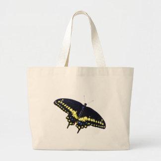 Swallowtail negro bolsa tela grande