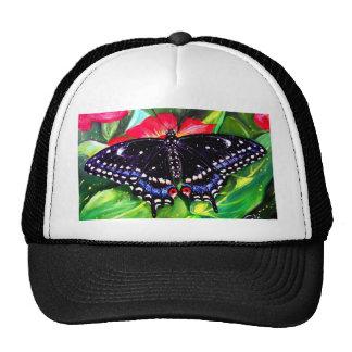 Swallowtail negro gorros bordados