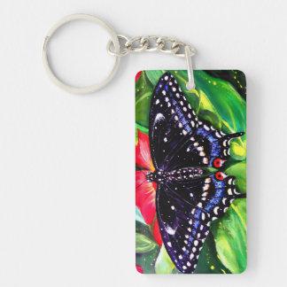 Swallowtail negro llavero rectangular acrílico a doble cara