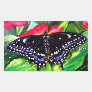 Swallowtail negro pegatina rectangular