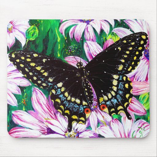 Swallowtail on Pink Flowers Mouse Pad