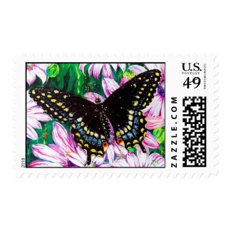 Swallowtail on Pink Flowers Stamp