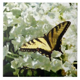Swallowtail on White Hydrangea Ceramic Tile