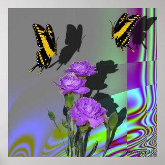 Swallowtails e impresión de los claveles impresiones